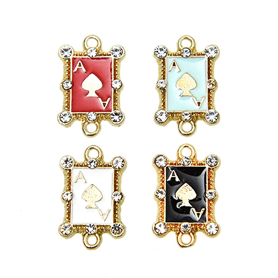 Monrocco 20Pcs Enamel Playing Cards Charms Pendants for Jewelry Making and Crafting