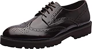 Allonsi Louis Chic Platform Wingtip Fashion Breathable Men Oxfords Shoes, Genuine Leather Casual Spring Luxury Lace-Up Shoes with Low Heels and EVA Sole