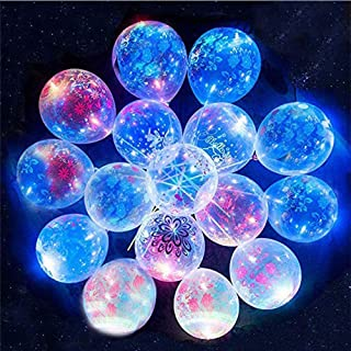 Printed Flower Flashing LED Balloons Light Up Party Glow in The Dark Balloons Bulk Rock Party Decroation for Rock, Rave,Ha...