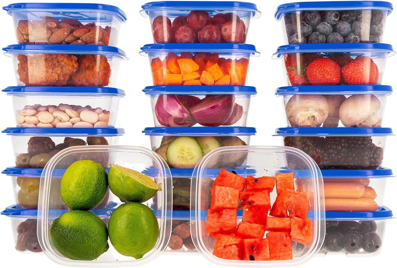 Oursson Recipientes Plastico para Alimentos Almacenaje Cocina con Tapas Azúl   Set de 20 Piezas x 400 ml   Sin BPA   Tapers para Comida Hermetico   Lunch Box   Fiambrera   Organizador Frigorifico  