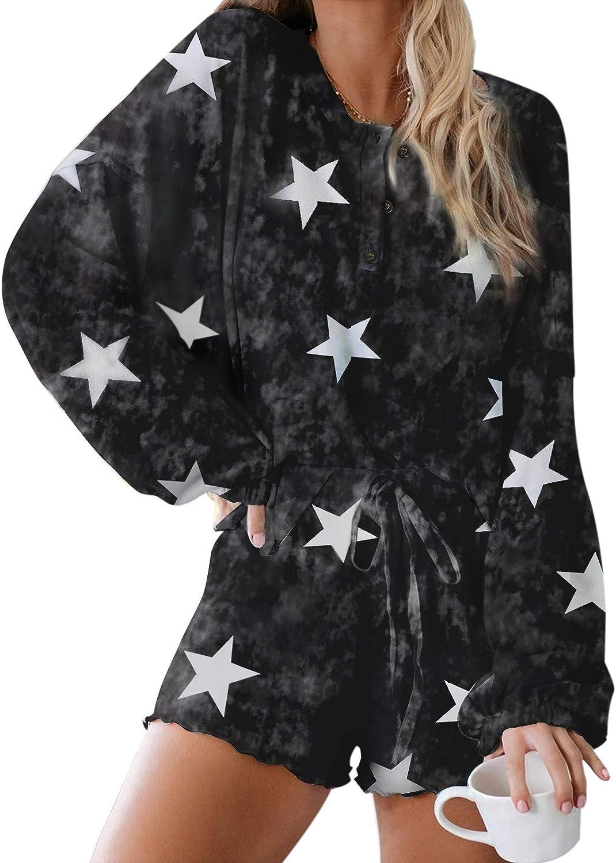 Truwelby Pajama Sets for Women, Tie Dye Sleepwear Shorts Set, Ladies Grils Casual Loungewear Home Wear, S-XL