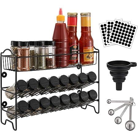 Magicfly Étagère à épices Rangement de Cuisine Support Mural à 3 Niveaux, Porte Épice avec 24 Pots d'épices, Organisateur de Condiments, 49 Étiquettes,1 Cuillère à Mesurer et 1 Entonnoir - Noir