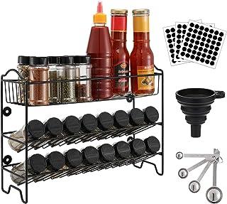 Magicfly Étagère à épices Rangement de Cuisine Support Mural à 3 Niveaux, Porte Épice avec 24 Pots d'épices, Organisateur ...
