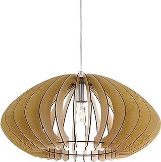 comprar comparacion Lámpara colgante EGLO Cossano 2, 1 lámpara colgante vintage, de acero y madera en níquel mate, arce, lámpara de mesa de co...
