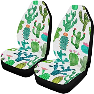 INTERESTPRINT Watercolor Cactus Cacti Auto Seat Covers 2 pc, Car Seat Covers Front Seats Only Universal Fit
