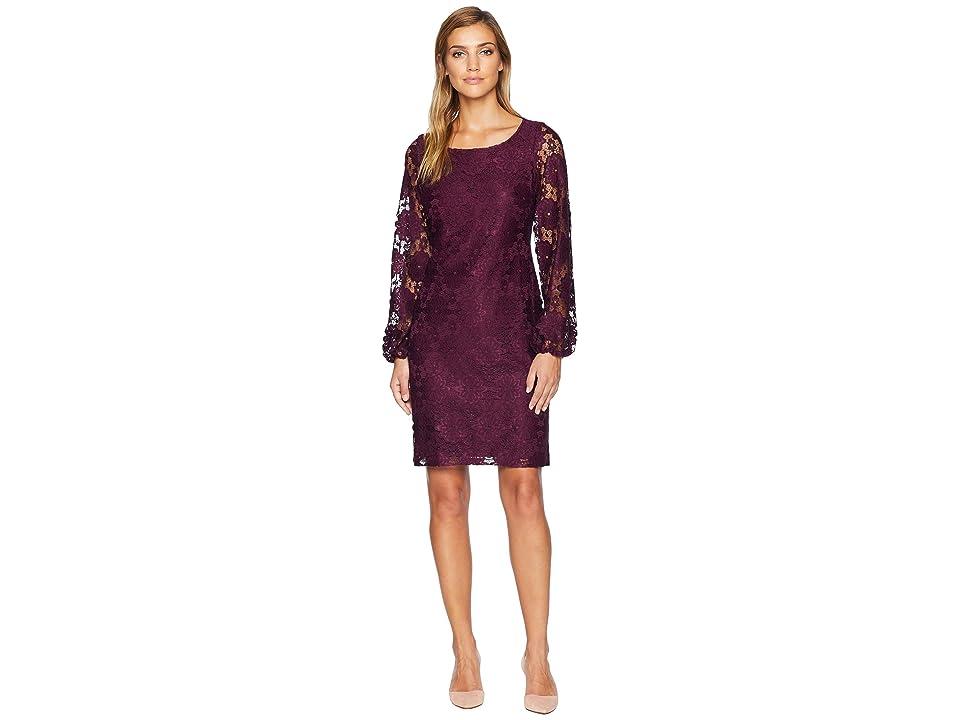 Nine West Lace Blouson Sleeve T-Shirt Dress (Raisin) Women