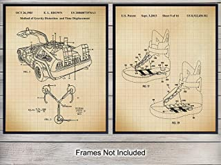 Back to The Future Car Patent Art Prints, Vintage Marty McFly DeLorean Wall Art Poster Set - Chic Rustic Home Decor for Bedroom, Man Cave, Office, Game, Play Family, Boys, Kids Room - Great Gift, 8x10