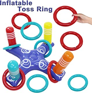 featured product Inflatable Rings Toss Game for Pool,Floating Swimming Rings Toss with 1 Cross & 4 Rings Summer Indoor Outdoor Pool Toys for Kids Adults Beach Lake Park Yard Grassland Party Favors Supplies