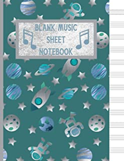 Blank Music Sheet Notebook: Gifts for space/music lovers; cute & elegant Ming In space Adventures 12 blank staves/staff sh...