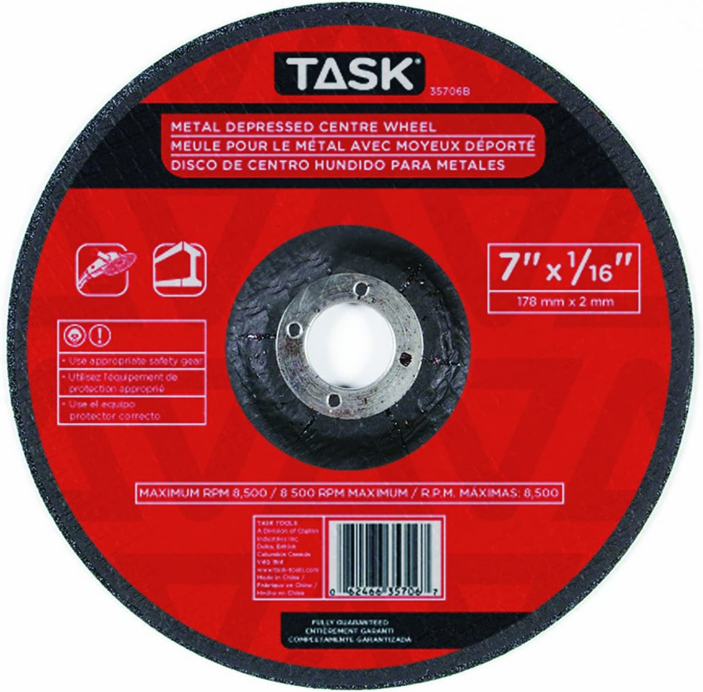 Task Tools 35706B 7-Inch by 1 Cutting D with New products world's Max 81% OFF highest quality popular Wheel 16-Inch Metal
