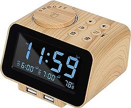 USCCE Digital Alarm Clock Radio - 0-100% Dimmer, Dual Alarm with Weekday/Weekend Mode, 6 Sounds Adjustable Volume, FM Radi...