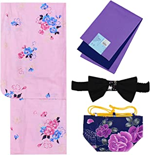 浴衣 ガールズ 4点セット 130cm 140cm 150cm ピンク紫 花柄 N3708