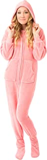Pink Plush Women's Hoodie Footed Pajama Onesie with Drop Seat