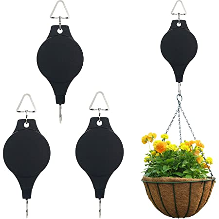 Adjustable Plant Pulley Retractable Hanging Planters Flower Basket Hook Hanger for Gardening Pot and Outdoor Birds Feeders in Different Height Lower and Raise Pack of 3 Pieces