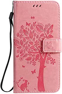 Hllycr LG K20 2019 Leather Cases for girls Flip Kickstand Case with Card Slots Protective Cover for LG K20 2019 - Pink