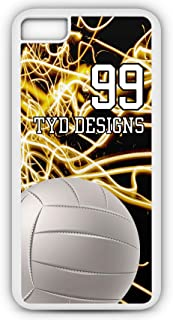 iPhone 6s Plus Volleyball Case Fits iPhone 6s Plus or iPhone 6 Plus Make Your Own Photo Design Tough Cell Phone Case With Any Jersey Number Team Name in White Plastic Black Rubber V1094 by TYD Designs