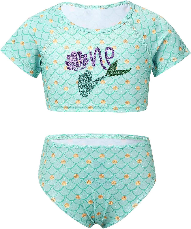 Popular iiniim Kids Girls 2PCS Mermaid Printed Short Tail Sleeve Credence Tankini