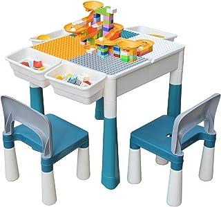 KORIMEFA Juego de Mesa y 2 Sillas Infantiles Mesa de Mesa de Actividades Multiusos Compatible 5 en 1 para niños Mesa de co...