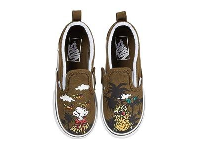 Vans Kids Slip-On V (Infant/Toddler) ((Dineapple Floral) Military Olive/True White) Boys Shoes