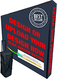 10ft Straight Velcro Fabric Pop Up Display + Case & Fabric Custom Print Including Side Printing Ends - Step and Repeat Trade Show Display, Exhibitions & Promotions