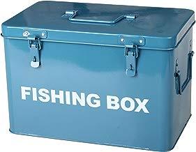 Simpa® azul caja de pesca de metal retro vintage estilo único bandeja caja de pesca con tapa ajustable (candados no suministrado) 21cm (H) X 31cm (W) X 19cm (D) pesca Tackle cebo utilidad caja de almacenamiento