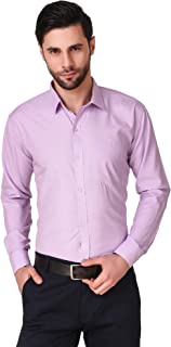 LONG ON Men's Cotton Solid/Plain Slim fit Casual Shirt (Color-Light Purple)