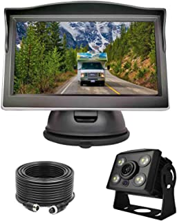 $89 » Wired Backup Camera System Kit,5'' LCD Rear View Monitor with IP69 Waterproof,1080P Vehicle Back up Cam IR Night Vision Wi...