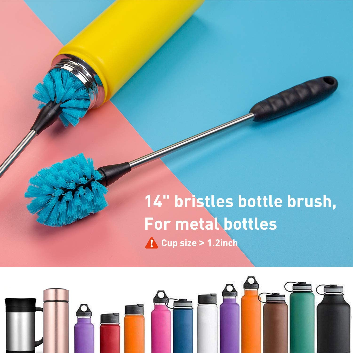Holikme 5 Pack Bottle Brush Cleaning Set,Long Handle Bottle Cleaner for Washing Narrow Neck Beer Bottles, Wine Decanter, Narrow Cup,Pipes, Hydro Flask Tumbler, Sinks, Cup Cover,White : Health & Household