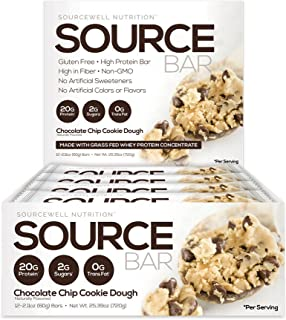 SOURCE BAR Choc Chip Cookie Dough - Made with: Grass Fed Whey Protein Concentrate, Whey Protein Isolate, and Milk Protein ...
