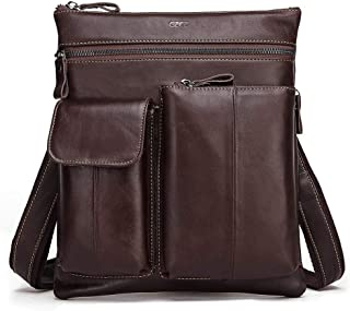Leather Bag Mens Leather Men's Cross-Body Mobile Phone Bag Small Wholesale Head Layer Leather Shoulder Bag High Capacity (Color : Brown, Size : S)