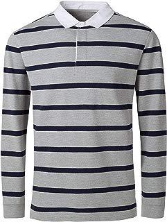 Men's Long Short Sleeve Polo Shirt Casual Striped Classic Cotton T-Shirt Henley Shirts