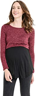 HELLO MIZ Women's Maternity Nursing Tunic Top with Empire Waist