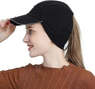 Womens Winter Fleece Ponytail Cap with Drop Down Ear Warmer Messy Bun Baseball hat