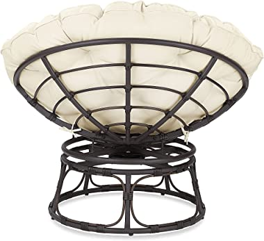 BELLEZE Papasan Chair with Fabric Tufted Cushion and Sturdy Steel Frame, 360-Degree Swivel, Beige