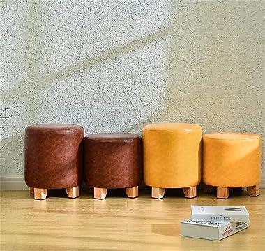 DEPLK Repose-Pieds en Cuir PU Repose-Pieds Ottoman Maquillage Dressing Tabouret de vanité Multifonction Changement de Chaussu