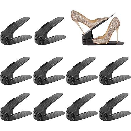 wolketon Lot de 30 Supports Réglables de Chaussure, Noir Rangement Chaussure, Organiseur Chaussures pour Famille, Economie d'Espace à Chaussures Support Rack Plastique