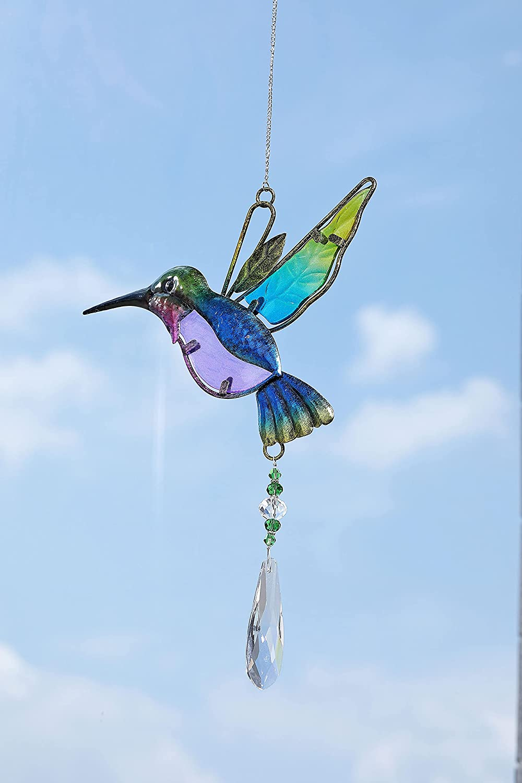 CrystalTears Hummingbird Crystal Suncatcher Hanging Crystals Rainbow Maker Crystal Ball Prism Wall Window Suncatcher for Home Office Garden Decor