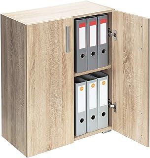 Deuba Mueble Vela Roble Armario con 2 Puertas y 2 estantes versatil almacenaje salón Oficina Libros Biblioteca