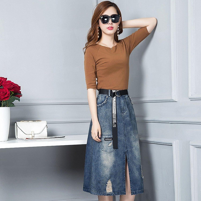 DEED Sleeve TShirt + Denim OneStep Skirt TwoPiece Women 'S Fashion Slim Suit Dress