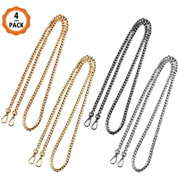 AUHOTA Fashion DIY Handbag Metal Chains Accessories with Buckles Gold, 47Inch 3Pcs Upgraded Replacement Chain Strap Entrained Imitation Pearl Elegant Purse Bag Shoulder Cross Body Straps