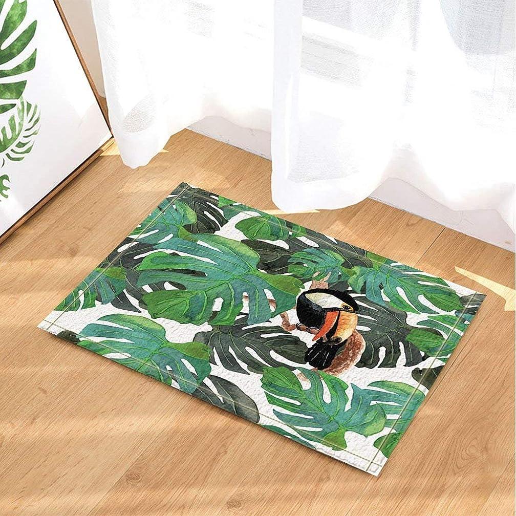 Watercolor Monster Leaves Decor Bird Toucan in Tropical Tree Branch Bath Rugs Non-Slip Doormat Floor Entryways Indoor Front Door Mat Kids Bath Mat 15.7x23.6in Bathroom Accessories