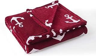 MarCielo Fleece Throw Blanket, 50 x 60 Inch Lap Fleece Blankets (Anchor Burgundy)