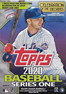 2020 Topps Baseball Series #1 Unopened Blaster Box of Packs with 99 Cards Including One EXCLUSIVE Rookie Card Restrospective RC Logo Commemorative Medallion Card