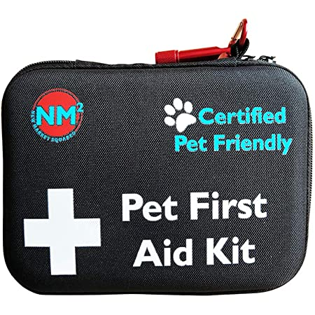 Pet First Aid Kit for Dogs & Cats | New 60 Piece First Aid Bag for Pets, Animals | Perfect for Travel Emergencies with Pet First Aid Guide Book and Instructions | Certified Pet Friendly