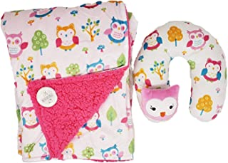 Posh Linens Owl Baby Blanket with Plush Neck Pillow - Soft Double Layer Sherpa with Colorful Pink Design for Toddler Girl and Boy Child