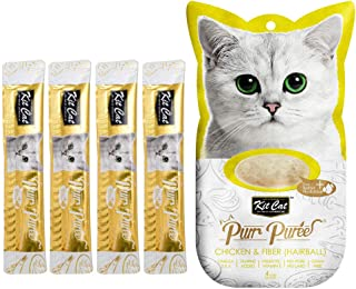Kit-Cat Purr Puree Chicken & Fiber Hairball Wet Cat Treat Tubes 4x15g