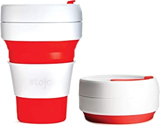 Stojo ST1-12OZ-COF-RED-RET 869623000138 Pocket Cup Red 355ml (Pack of 1), 12oz