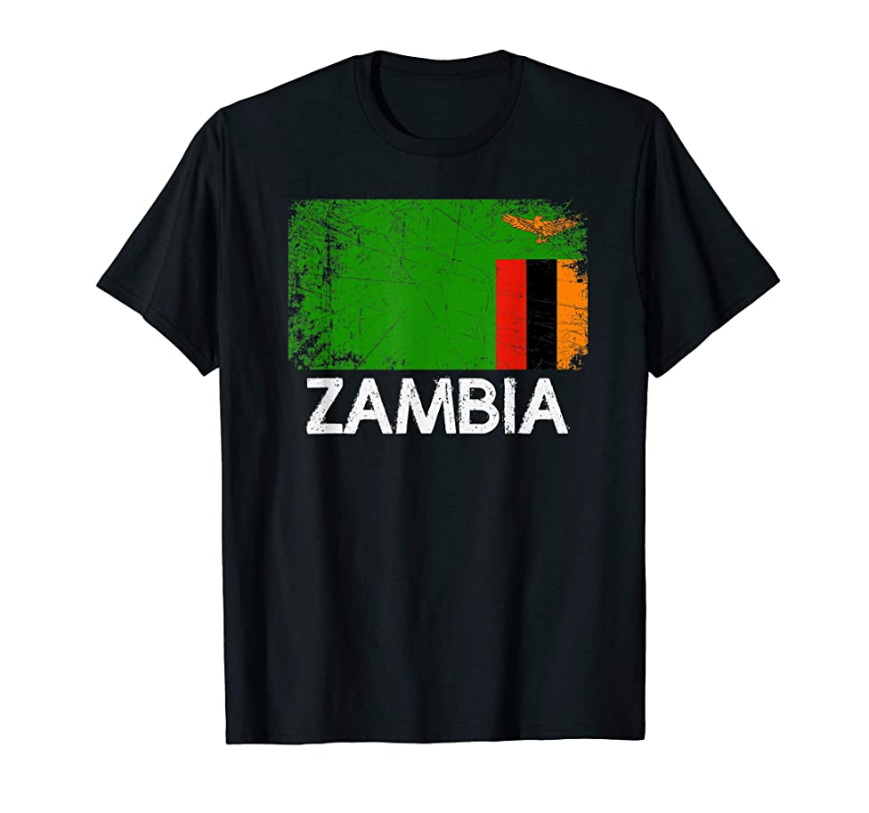 Zambian Flag T-Shirt | Vintage Made In Zambia Gift