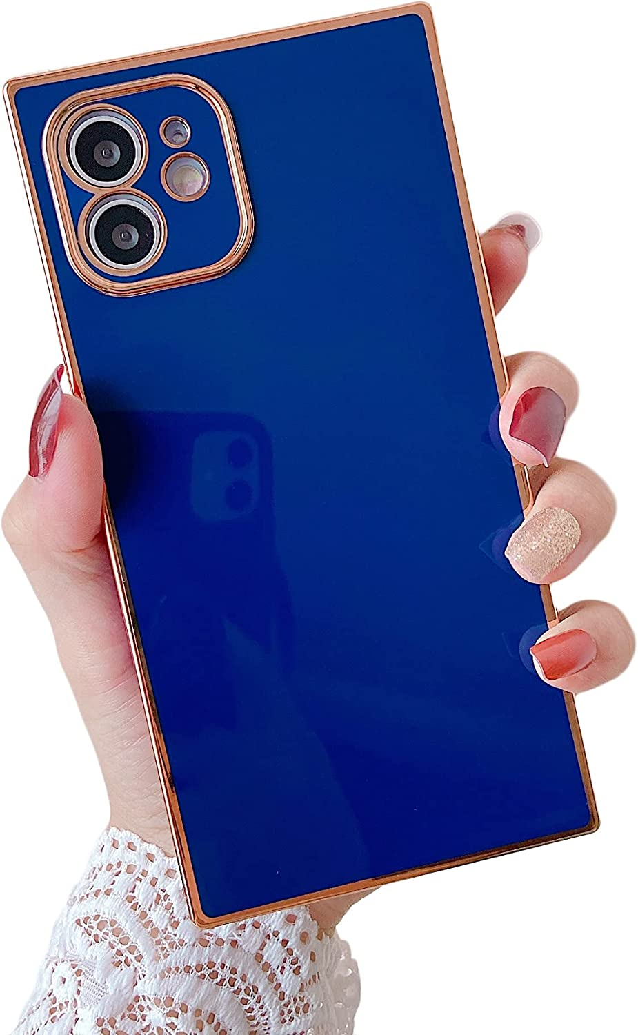 Cocomii Square Plated Plain Color iPhone 12 Mini Case, Slim Thin Glossy Soft TPU Silicone Rubber Rose Gold Plated Trunk Box Square Edges Bumper Cover Compatible with Apple iPhone 12 Mini 5.4