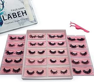 Labeh 100% Siberian Mink Fur 3D False Eyelash Dramatic Makeup 20 Different Styles Strip Lashes for Makeup(20pair/package)